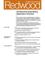 Certified Kiln Dried Siding Application Checklist