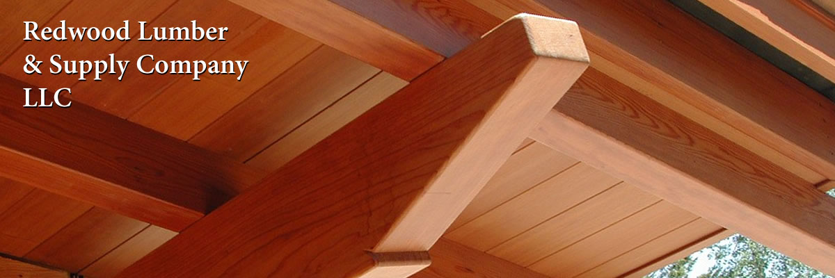 Redwood rafters, beams and ceiling boards with the Redwood Lumber & Supply Company, LLC logo.